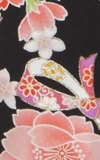 花柄リボン黒