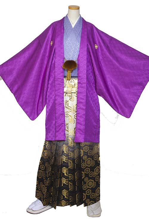 男の紋付(紫×藤)