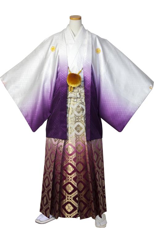 男の紋付(白紫グラデ)
