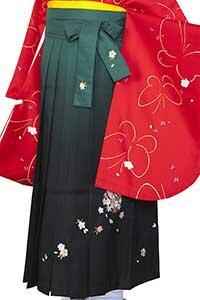 緑黒ぼかし刺しゅう袴
