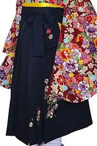 桜蝶紺刺しゅう袴