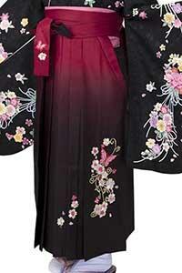 桜蝶えんじぼかし刺しゅう袴