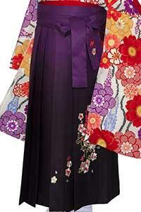 桜蝶紫ぼかし刺しゅう袴
