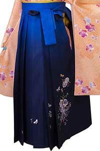ブルー紺ぼかし刺しゅう袴