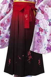 赤ぼかし刺しゅう袴