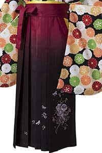 桜ブーケえんじぼかし刺しゅう袴