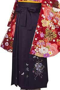 桜ブーケ紫刺しゅう袴