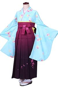 水色桜小紋