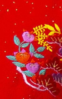 ラメ赤花紋Details3