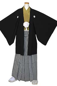 男の紋付(黒×鶯)